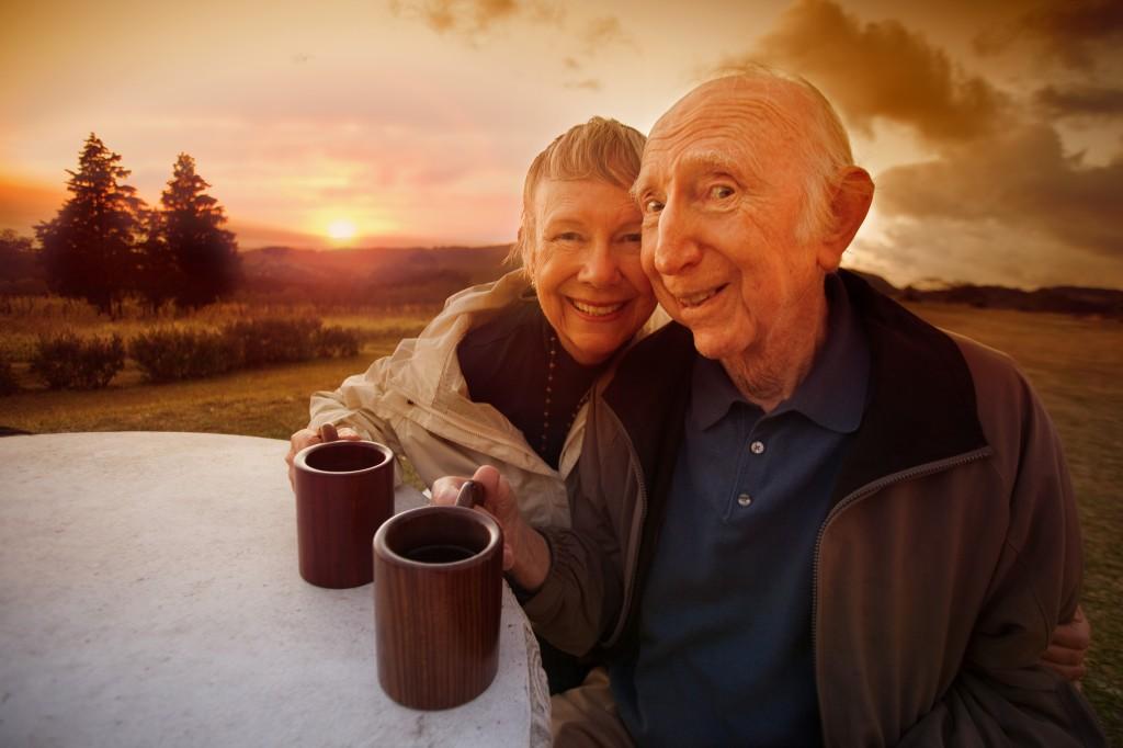 Happy Senior Couple at Sunset